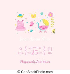 Baby Arrival Card - for design and scrapbook - in vector
