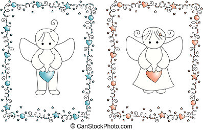 baby arrival card - set vector baby arrival greeting card