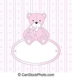Baby arrival card - Cute pink greeting card with bear
