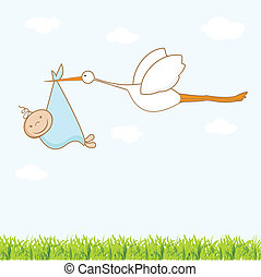 Baby arrival card with stork that brings a cute boy