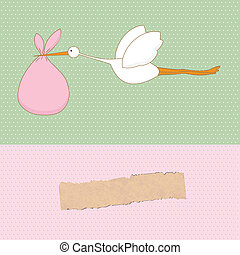 Baby arrival card with stork that brings a cute girl
