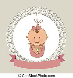 baby arrival design over beige background vector...