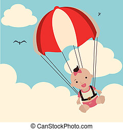 baby arrival design over sky background vector illustration...