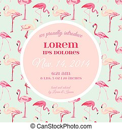Baby Arrival or Shower Card - with Flamingo Bird Design - in...