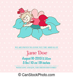Baby Arrival or Shower Card - with Sleeping Fairy Girl- with place for your text - in vector