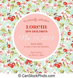 Baby Arrival or Shower Card - with Violet Rose Flower Design - in vector