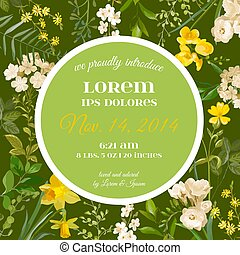 Baby Arrival Summer and Spring Floral Card in Watercolor Style. Vector Vintage Field Flowers