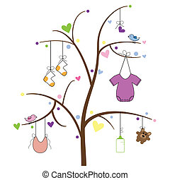baby, artikeln, träd