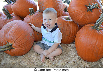Baby at pumpkin patch in the autumn