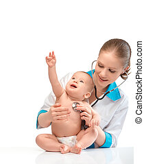 baby at the doctor pediatrician. doctor listens to the heart with a stethoscope isolated on white