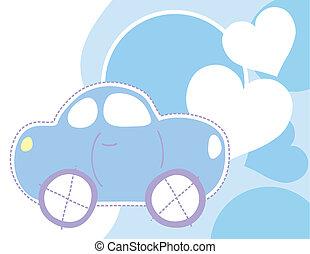 baby, auto, en, hartjes, achtergrond