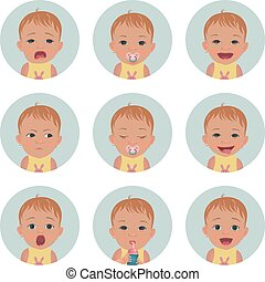 Baby avatars. Child emotions. Set of toddler facial expressions. Cartoon style characters.