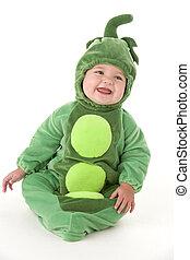 baby, bælg, smil, peas, kostume