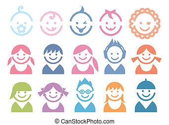 baby, børn, ansigter