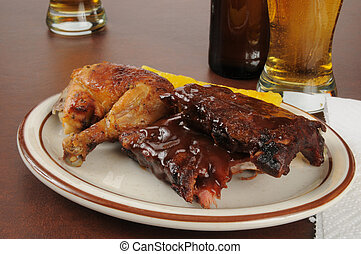Baby back ribs, barbecue chicken and beer