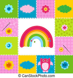 baby background in stitched textile style