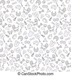 baby background. Vector seamless pregnancy pattern. for Shower. outline