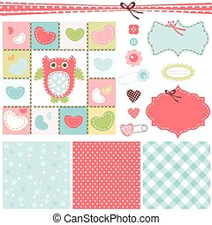 baby backgrounds - design elements for baby scrapbook