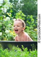 baby, baden, draußen