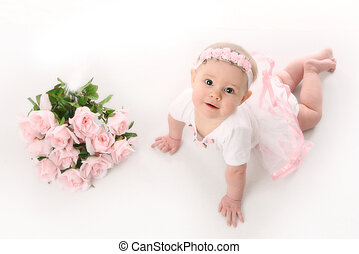 baby, ballerina, rosafarbene rosen