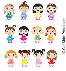 A set of cute little baby ballerina mascots.