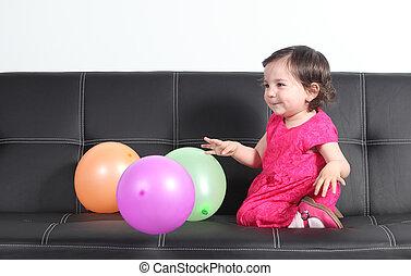 baby, ballons, spelend, vrolijke
