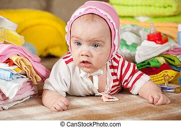 baby, barns, flicka, kläder