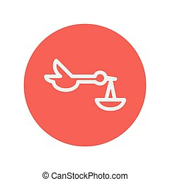 Baby basket and stork thin line icon
