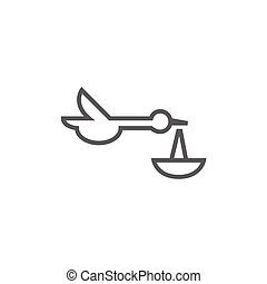 Baby basket with stork line icon.