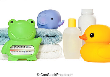 Baby bath accessories isolated: towels, toys, thermometer...