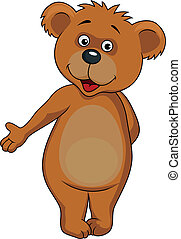 Baby bear cartoon waving hands