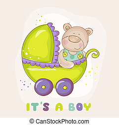 Baby Bear in Carriage - for Baby Shower or Arrival Card - in vector