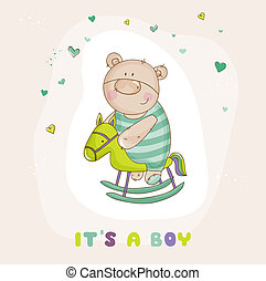 Baby Bear on a Horse - Baby Shower or Arrival Card - in vector