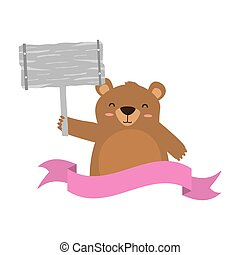 baby bear with board