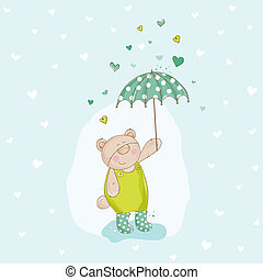 Baby Bear with Umbrella Illustration - in vector