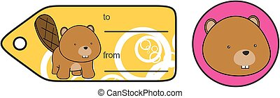baby beaver plush cartoon sticker