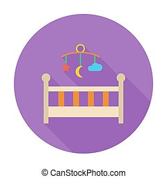 Baby bed icon. Flat vector related icon with long shadow for...