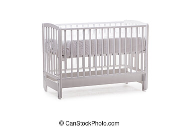 Baby bed cot isolated on the white background