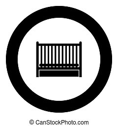 Baby bed icon black color in circle