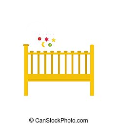 Baby bed icon, flat style