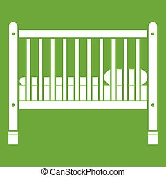 Baby bed icon green