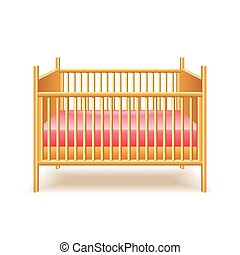 Baby bed isolated on white vector - Baby bed isolated on...