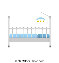 Baby bed with toys icon, flat style