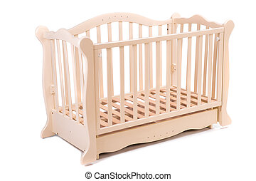 baby bed wooden on a white background