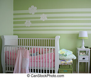 Baby Bedroom - Decorated baby's bedroom with crib