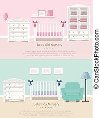 Baby bedroom interior. Flat vector illustration.