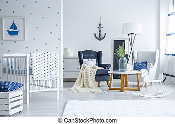 Baby bedroom with dotted wall