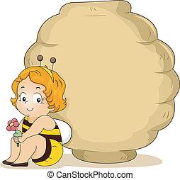 Baby Bee Girl with Beehive