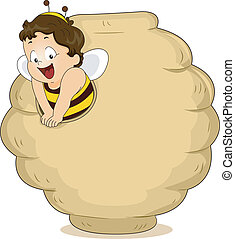 Baby Bee in a Beehive