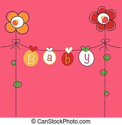baby, beklæde, blomst, klæder